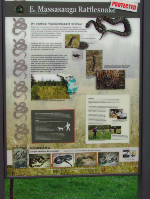 Michigan DNR Rattlesnake information sign at Seven Lakes State Park.