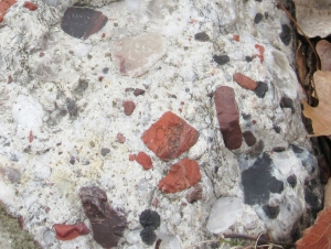 Close up image of the embedded minerals in the same pudding stone.
