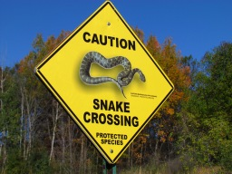 A massasauga rattlesnake crossing sign at Seven Lakes State Park in Fenton
