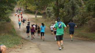 Runners take the scenic route during the Brooksie Way.