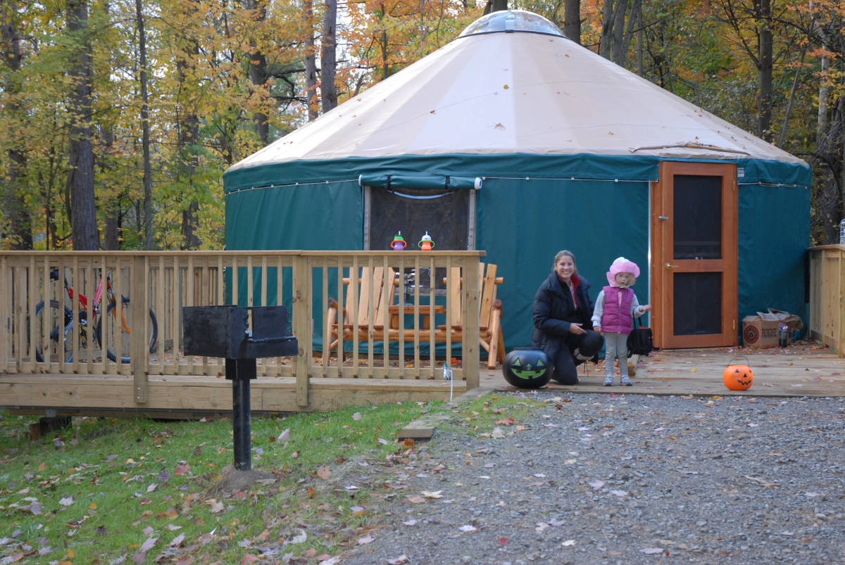A Yurt being used for the Halloween weekend.