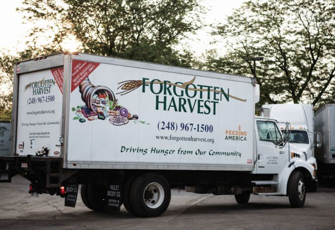 A Forgotten Harvest truck gets ready to head out for the day.