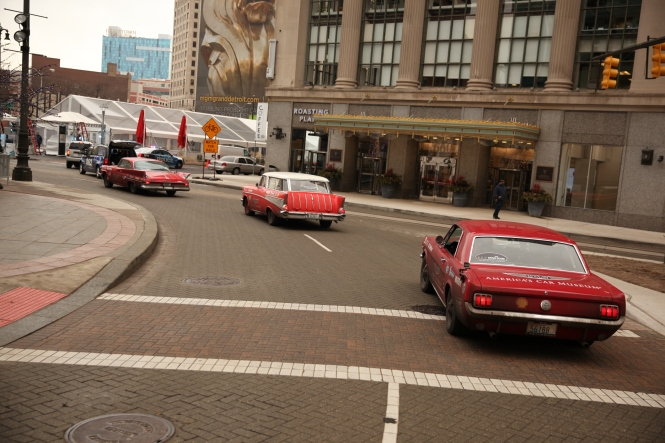 The Drive Home vehicles making the loop on Woodward.