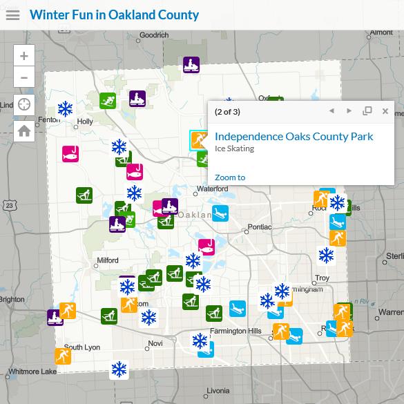 Winter Activities map