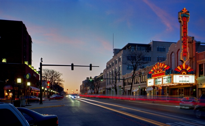 Downtown Birmingham Theatre at night.