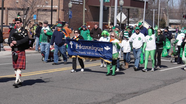 St. Patrick's Day parade participants walking in Royal Oak.
