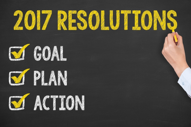 New Year 2017 Resolution on Chalkboard Background