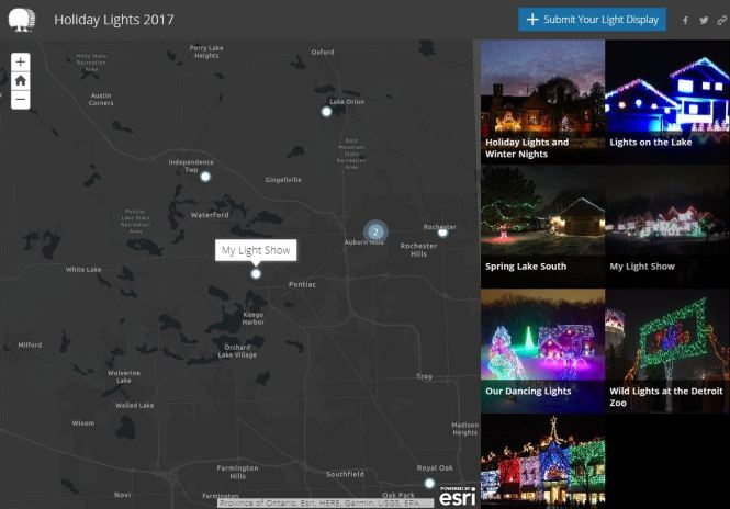 Oakland County Holiday Lights Map 2017