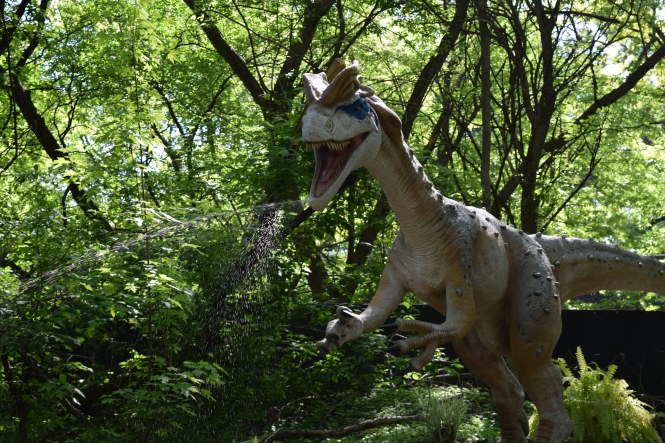 Dinosaur spits water at Detroit Zoo's dinosauria exhibit