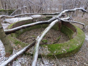 The base of a silo, covered in moss.